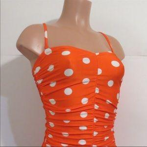 Retro ✴️ Orange polka dot 1pc swimsuit Gottex